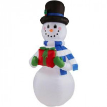 Home Accents Holiday 6.5 ft. H Inflatable Snowman with Present-36685 205920282