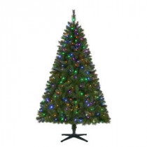 Home Accents Holiday 6.5 ft. Pre-Lit LED Wesley Artificial Christmas Tree with Color Changing Lights-TG66M3W89D02 206770996