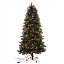 Home Accents Holiday 7.5 ft. Blue Spruce Elegant Twinkle Quick-Set Slim Artificial Christmas Tree with 450 Clear and Sparkling LED Lights-W14L0464 205943389