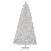 Home Accents Holiday 7.5 ft. Pre-Lit LED Glossy White North Hill Spruce Quick-Set Artificial Christmas Tree with Warm White Lights-TG76M2O71L00 206771032