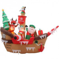 Home Accents Holiday 8 ft. H Inflatable Giant Christmas Pirate Ship Scene-36689 205919618