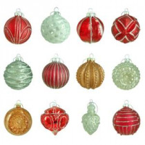 Home Accents Holiday 80 mm Winter Tidings Assortment Ornament (12-Count)-HEGL21WT 207045465
