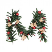 Home Accents Holiday 9 ft. Battery Operated Burlap Holiday Artificial Garland with 50 Clear LED Lights-BOWOTHD153D 205915361