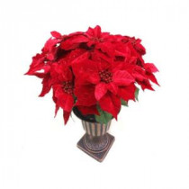 Home Accents Holiday Christmas 26 in. Velvet Poinsettia in Urn-65X6439 206963143