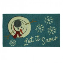 Home Accents Holiday Let It Snowman Top 17 in. x 29 in. Hand Hooked Holiday Mat-520144 206993465