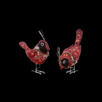 Home Accents Holiday Pre-Lit Red Burlap Birds (2-Set)-TY066-1414-0 205983471