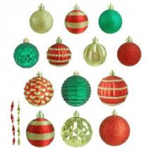 Home Accents Holiday Red, Gold and Green Assorted Ornament (100-Count)-HEG1682 207045495