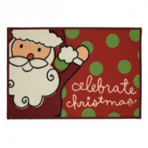 Home Accents Holiday Santa Celebrates 17 in. x 29 in. Printed Holiday Mat-520922 207037257