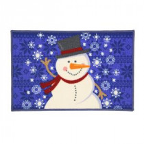 Home Accents Holiday Snowman Blue Sweater 17 in. x 29 in. Printed Holiday Mat-519872 206993479