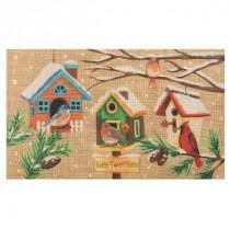 Home Accents Holiday Winter Birdhouse Burlap 18 in. x 30 in. Door Mat-60799080018x30 207037138