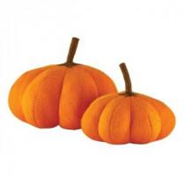 Home Decorators Collection 10 in. Orange Wool Felt Pumpkins (Set of 2)-9727600570 300134190