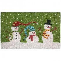 J & M Home Fashions Christmas Three Snowmen Vinyl Back Coco 18 in. x 30 in. Door Mat-70188 206639158
