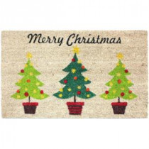 J & M Home Fashions Christmas Trees Vinyl Back Coco 18 in. x 30 in. Door Mat-70187 206639157