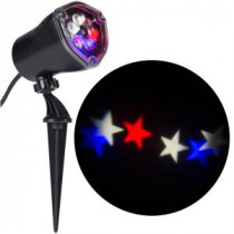 LightShow 11.81 in. Projection-Whirl-a-Motion-Stars (RWWB) Light Stake-49274 206832939