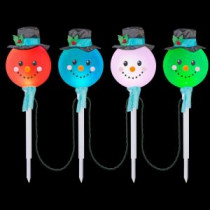 LightShow 25.20 in. Color Changing Snowman Pathway Stakes (Set of 4)-10307 206768230