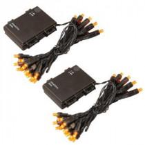 LumaBase 10 ft. 25-Light Orange Battery Operated String Lights (Set of 2)-66202 206456918