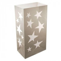 Lumabase 11 in. Silver Stars Luminaria Bags (Count of 24)-49024 206461372