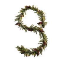 Martha Stewart Living 12 ft. Pre-Lit Snowy Dunhill Fir Garland-9781500610 300374750