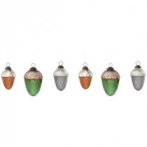 Martha Stewart Living 2 in. - 2.75 in. H Tricolor Acorn Ornament (Set of 6)-9731900730 300261535