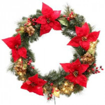 Martha Stewart Living 32 in. Winterberry Artificial Wreath with 50 Clear Lights-1759064 203264020