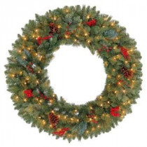 Martha Stewart Living 36 in. Winslow Artificial Wreath with 150 Clear Lights-GD30P4598C00 205915358