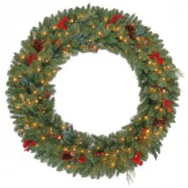 Martha Stewart Living 48 in. Winslow Artificial Wreath with 120 Clear Lights-GD40P4598C00 205915360