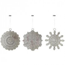 Martha Stewart Living 5 in. Pierce Metal Snowflake Christmas Ornaments (Set of 3)-9736800250 300265799