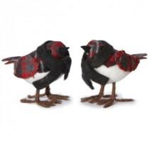 Martha Stewart Living 5 in. W Plaid Bird Christmas Ornaments (Set of 2)-9756000110 300247091