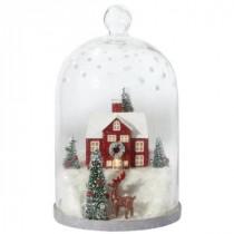 Martha Stewart Living 7.5 in. Winter House Lighted Cloche Diorama-9735600730 300266269