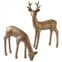 Martha Stewart Living 8.5 in. Etched Deer Figurines (Set of 2)-9732400800 300265955