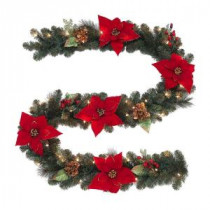 Martha Stewart Living 9 ft. Winterberry Artificial Garland with Red Berries and Magnolia Leaves and 50 Clear Lights-2174910HD 205080212