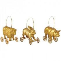 Martha Stewart Living Gilded Animals on Wheels Ornament (Set of 3)-9783600530 300259568