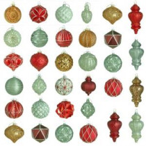 Martha Stewart Living Winter Tidings Glass Ornament Set (50-Count)-HEGL25WT 207045461