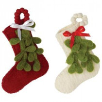 Martha Stewart Living Wool Felt Mistletoe Stocking Ornament (Set of 2)-9728100410 300243016