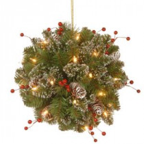 National Tree Company 12 in. Glittery Mountain Spruce Kissing Ball with Battery Operated Warm White LED Lights-GLM1-300-12KBC1 300487247