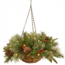 National Tree Company 20 in. Colonial Hanging Basket with Battery Operated Warm White LED Lights-PECO1-300-20HB1 300487243