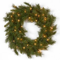 National Tree Company 20 in. Winchester Pine Artificial Wreath with Clear Lights-WCH7-300-20W-1 300182757