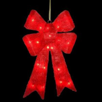 National Tree Company 23.5 in. Pre-Lit Red Sisal Bow-MZBO-235RLO-1 205572858