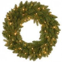National Tree Company 24 in. Avalon Spruce Artificial Wreath with Clear Lights-PEAV7-300-24W-1 300182937