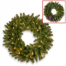 National Tree Company 24 in. Kingswood Fir Artificial Wreath with Battery Operated Dual Color LED Lights-KW7-300D-24WB1 300154632