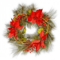 National Tree Company 24 in. Red Poinsettia Artificial Wreath-RAC-14131W24 300154631