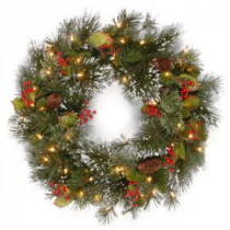 National Tree Company 24 in. Wintry Pine Artificial Wreath with Clear Lights-WP1-300-24W-1 300182789