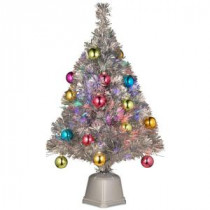 National Tree Company 2.6 ft. Silver Fiber Optic Fireworks Ornament Artificial Christmas Tree-SZOX7-177L-32-1 300496202