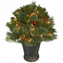 National Tree Company 26 in. Cashmere Cone and Berry Decorated Potted Artificial Christmas Tree in Urn with 50 Clear Lights-CCB19-26LO 205952969