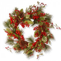 National Tree Company 28 in. Red Berry Artificial Wreath-RAC-JS31300 300154661