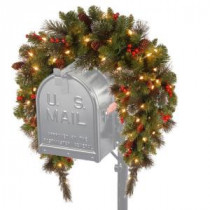 National Tree Company 3 ft. Battery Operated Crestwood Spruce Artificial Mailbox Swag with 50 Clear LED Lights-CW7-300-3M-B1 205952092