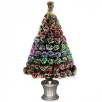 National Tree Company 3 ft. Fiber Optic Evergreen Flocked Artificial Christmas Tree-SZEF7-100L-36-1 300496189