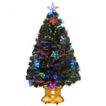 National Tree Company 3 ft. Fiber Optic Fireworks Artificial Christmas Tree with Star Decorations-SZSX7-112L-36 300496173