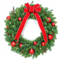 National Tree Company 30 in. Battery Operated Mixed Fir Artificial Wreath with 50 Clear LED Lights-DC3-186-30WB-1 206084826