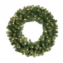 National Tree Company 30 in. Feel-Real Downswept Douglas Fir Artificial Wreath with 100 Clear Lights-PEDD4-312-30W-1 205945919